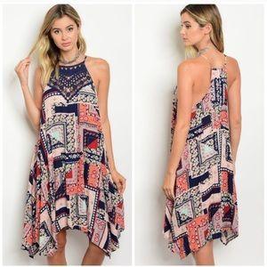 Patchwork Dress W/ Crochet Lace Top